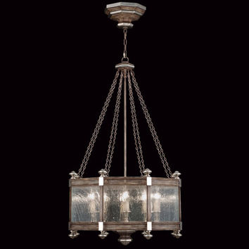 Fine Art Lamps 807440ST Villa Vista Eight-Light Pendant in Hand Painted Driftwood Finish On Metal with Silver Leafed Accents
