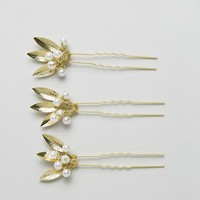 Johnny Loves Rosie Bridal Range Gold Leaf Hair Grips at asos.com