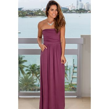 Strapless Eggplant Maxi Dress with Pockets