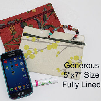 Floral Print Zipper Bag or Zipper Pouch, Asian Zen, ZS102