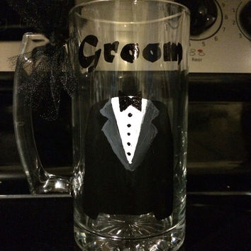 Groom Hand Painted Wine Glass Beer Mug