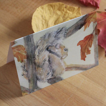 Squirrel Note Card Blank Autumn Watercolor Notecard Thanksgiving Invitation Harvest Gift Basket Original Art Woodland Animal Fall Leaves