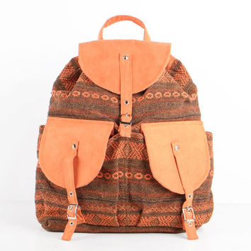 Orange Navajo Drawstring Backpack Hippie, Boho, School Bag Southwestern/ Aztec/ American Indian