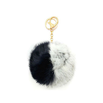 Grey, Navy Blue & Gold Two Tone Rabbit Fur Pom Pom Key Chain / Bag Charm Keychain, gift