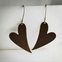 Brass Heart Earrings - under 20 dollars, fun jewelry, fun gift idea, brass jewelry, popular earrings, shop for a cause, gift for women