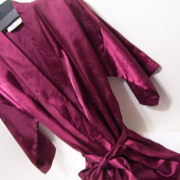 Long Robe, Satin Jacquard, Wine, Cranberry, Wrap Style, ONE SIZE Fits Most, California Dynasty, Honeymoon, Sexy Sleepwear