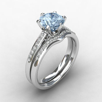engagement ring set, Aquamarine ring, Diamond band, wedding ring set, Aquamarine engagement,  blue, pave, solitaire, diamond engagement,