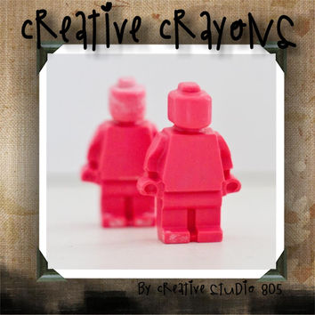 PINK LEGO PEOPLE - shaped crayons - birthday party favors - baby shower favors - easter basket gifts