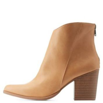 Tan Pointed Toe Stacked Heel Ankle Boots by Charlotte Russe
