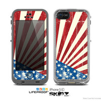 The Vintage Tan American Flag Skin for the Apple iPhone 5c LifeProof Case