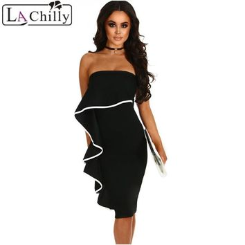La Chilly Summer Womens Clothing Sexy Dress Club Wear 2018 Ladies DressesBlack Frill Strapless Off Shoulder Midi Dress LC610049