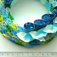 handmade Wreath of paper quilling in fresh color -blue green, fresh summer home decor, summer gift, new