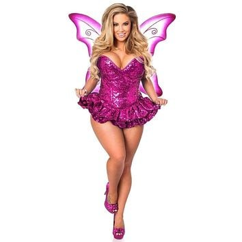 Daisy Top Drawer Premium Sequin Pink Fairy Corset Dress Costume