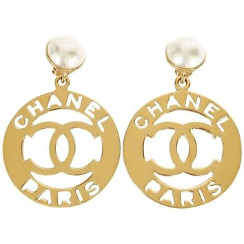 Chanel Gold Tone Faux Pearl x CC Jumbo Dangle Earrings Vintage Rare