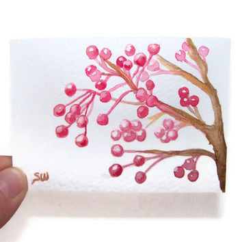 Berries Watercolor Painting Print ACEO - 3.5 x 2.5
