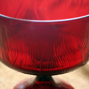 Bark Pattern Vintage Indiana Hoosier Glass Ruby Red Pedestal Bowl Dish