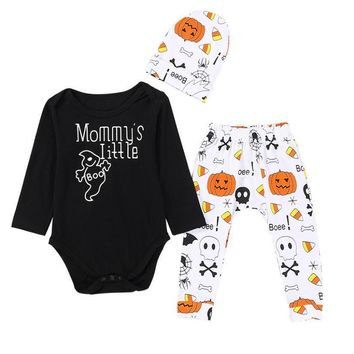 Baby Girl Boy Clothes Newborn Set Halloween Letter Romper Tops Pumpkin Print Pants Cap Long Sleeves Baby Warm Clothes 18Jul27