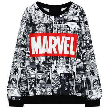 Marvel Printed Female Hoodie Sweatshirt Tracksuit Harajuku Adventure Time Black Sweatwear Women EXO Kpop BTS Anime Felpe Donna