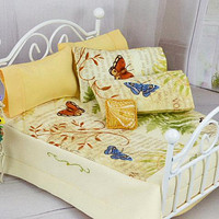 Dollhouse Bedding, Bed Linen Set, Butterfly Garden, Peach Sheets, Doll Quilt, Doll Bedding, Master Bedroom, Farmhouse Decor, One Inch Scale