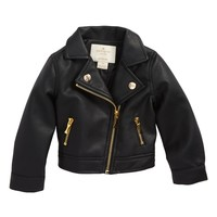 kate spade new york faux leather moto jacket (Baby Girls) | Nordstrom