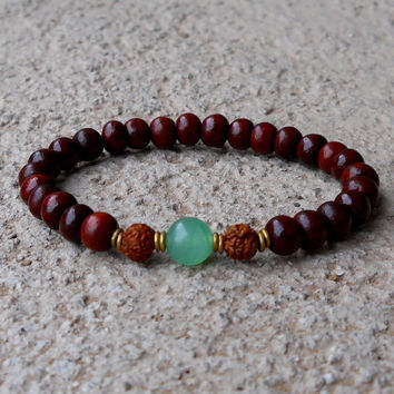 Beauty and balance, rosewood bracelet with rudraksha and aventurine guru bead