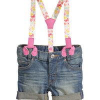 H&M - Shorts with Suspenders - Denim blue - Kids