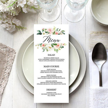 Bridal shower menu template editable printable, Blush pink greenery floral, Bridal shower brunch menu, Dinner party menu template download