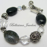 Spectacular Genuine Bali Silver, Moss Agate Natural Stone Bracelet, Chunky, Enduring, Elite Jewelry