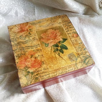 Retro style tea box with rose letters bird  9 compartments elegant gift idea for her patinated crackle