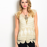 Sleeveless Crochet Knit Beach Coverup