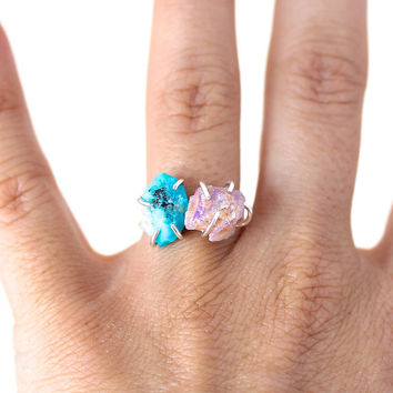 Raw Opal and Turquoise Ring-OOAK