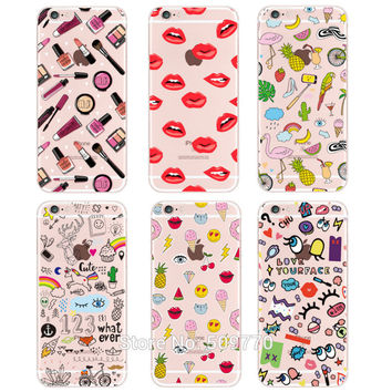 Beautiful Girl make up Design Case For iphone 6 Case For iphone 6S 6 Plus 5 5S SE 7 7plus Transparent  Cover For Galaxy S5 S6 S7
