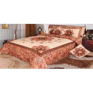 Floral Autumn Leaves Warm Bronze Brown Luxury Embellished Glamorous Ruffled Bedspread Coverlet Comforter Bedspread Set - (BM4304L)