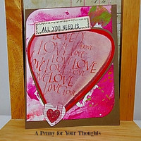 All You Need Is Love,Love,Love Handmade Valentine Card . Ready to Ship