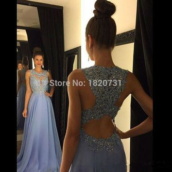 Sexy O Neck A Line Ombre Chiffon Lace Beaded Maroon Lavender Long Prom Dresses 2017 Backless Court Train robe de soiree Dresses