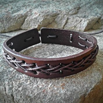 Brown Criss Cross Adjustable Unisex Leather Weave Wrap Bracelets