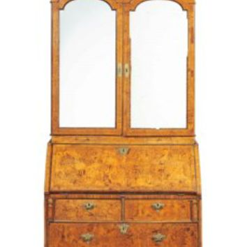 A ROYAL SAXON BRASS-MOUNTED STAINED-FIELD-MAPLE BUREAU-CABINET, DRESDEN, CIRCA 1730-1740