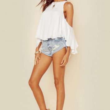 HIGH NECK TOP WITH CUT OUT