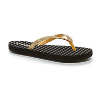 Reef Girls' Little Stargazer Print Flip Flop Sandals - Black/Gold