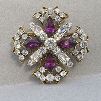 WEISS Sparkling Vintage Purple & Crystal Rhinestone Big Maltese Cross Pin