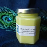 Pineapple Coconut Scented Soy Candle in Hexagon Jar