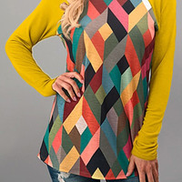 Multicolor Geometric Printed Splicing T-Shirt - Bellelily