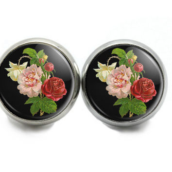 Roses Stud  Earrings    Floral Jewelry  Rose Studs   Garden Party Earrings. Red and Pink  Earrings