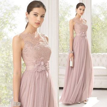 2016 Lace Long Bridesmaids Dresses Sheer Neck Floor Length Tulle Tank  Flower Wedding Party Dresses Prom 6ff68f092286
