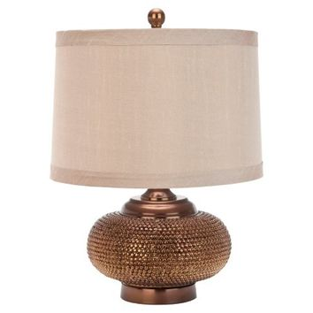 Safavieh Bead Lamp with CFL Bulb, Gold with Taupe Shade - Walmart.com