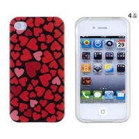 Red Hearts Flexible TPU Gel Case with Clear Sides for Apple iPhone 4, 4S (AT&T, Verizon, Sprint): Cell Phones & Accessories