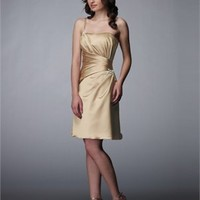 One Shoulder Knee Length Strapless Taffeta Prom Dress PD0097