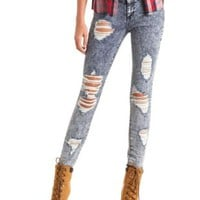 "Refuge ""Hi-Waist Super Skinny"" Acid Wash Jeans"
