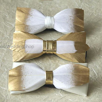 Feather Bow Tie Wedding Bow Tie Groom Bow Tie Gold and White Bow Tie