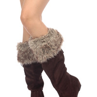 Brown Faux Suede Knee High Faux Fur Boots